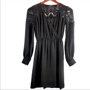 XOXO Long Sleeve Dress With Lace Shoulder Accents